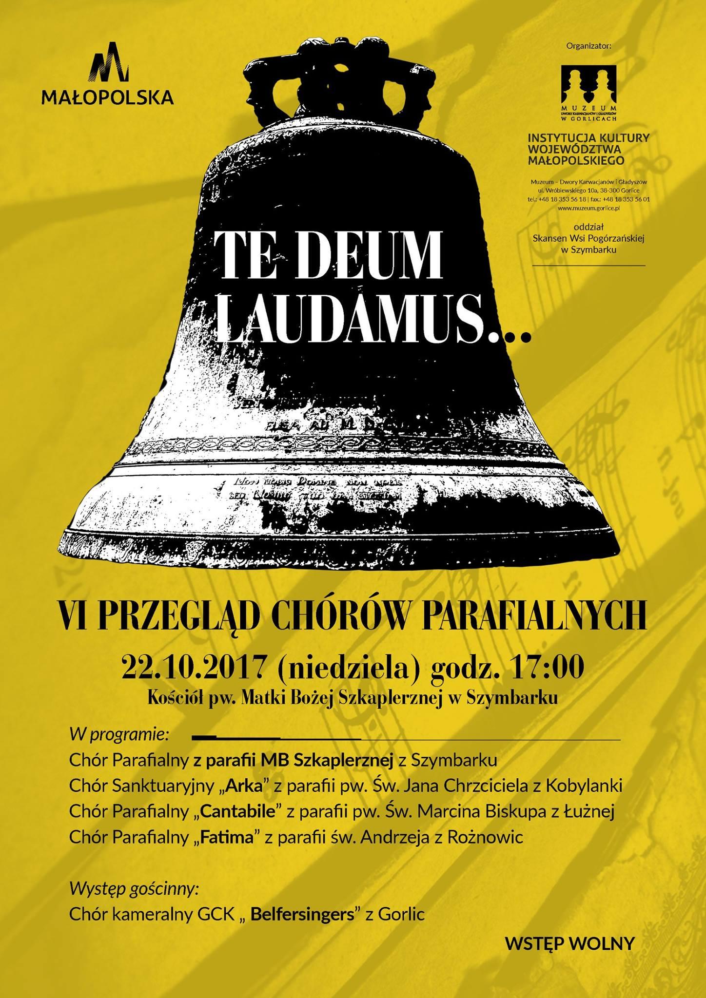 """Zaproszenie na VI przegląd chórów parafialnych """"TE DEUM LAUDAMUS…"""" - 22 października 2017"""