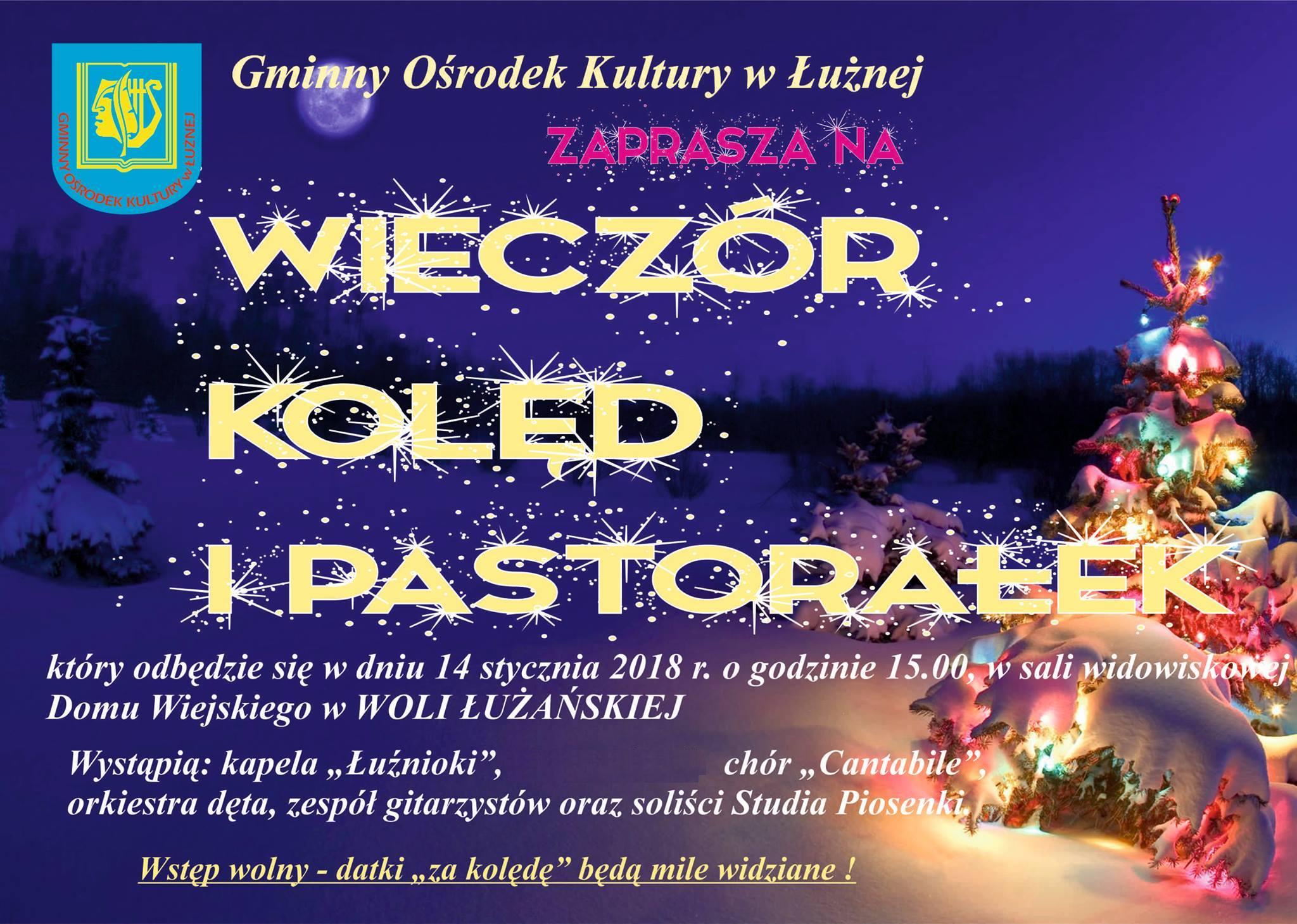 Zaproszenie na wspólne kolędowanie - Wola Łużańska
