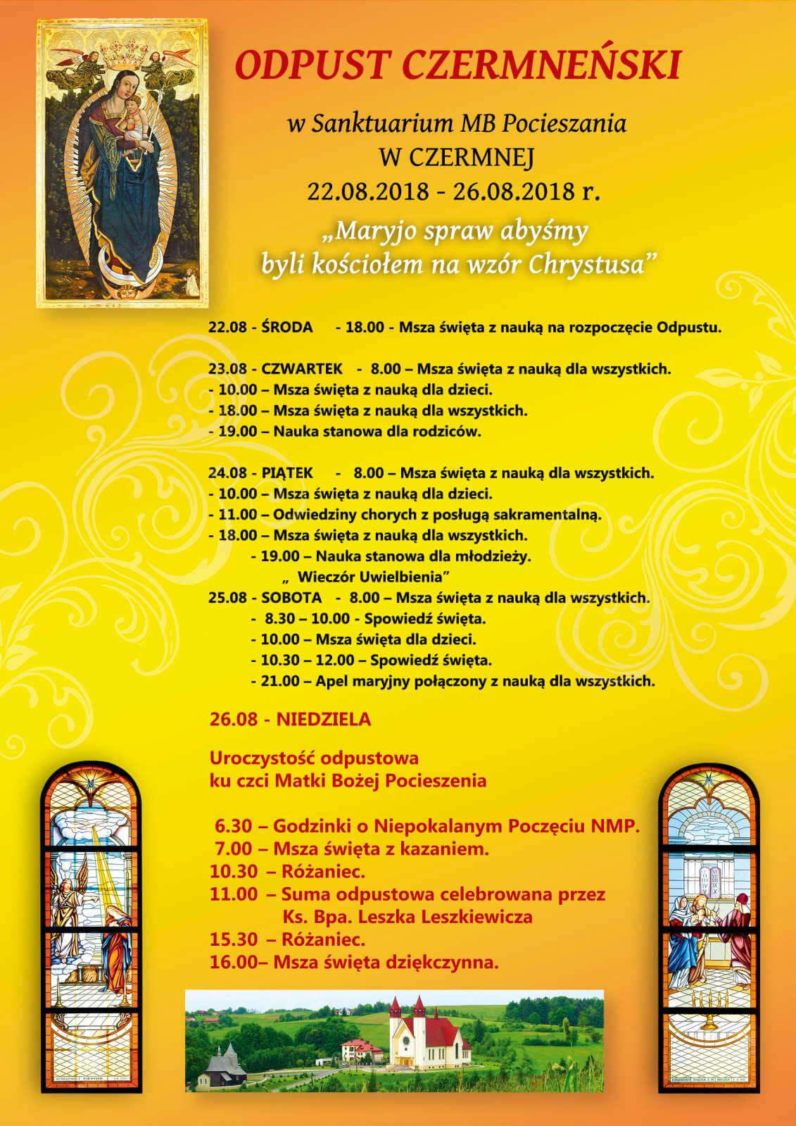 Zaproszenie na odpust do parafii Czermna