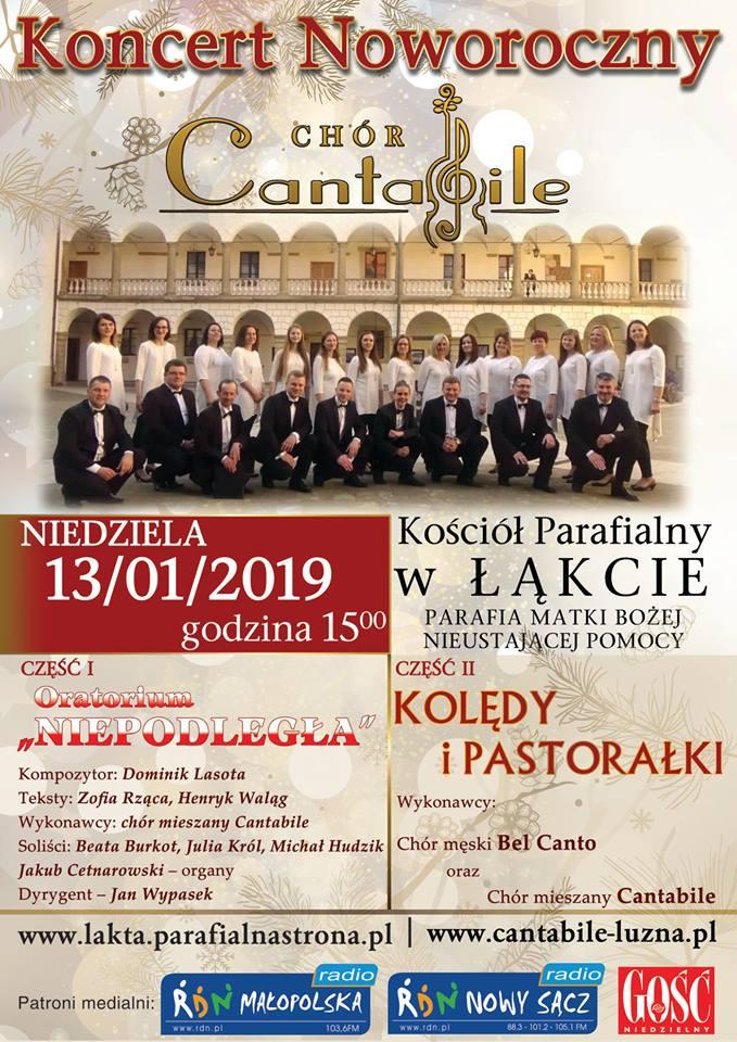 Zaproszenie na Patriotyczno - Kolędowy Koncert Noworoczny w Łąkcie